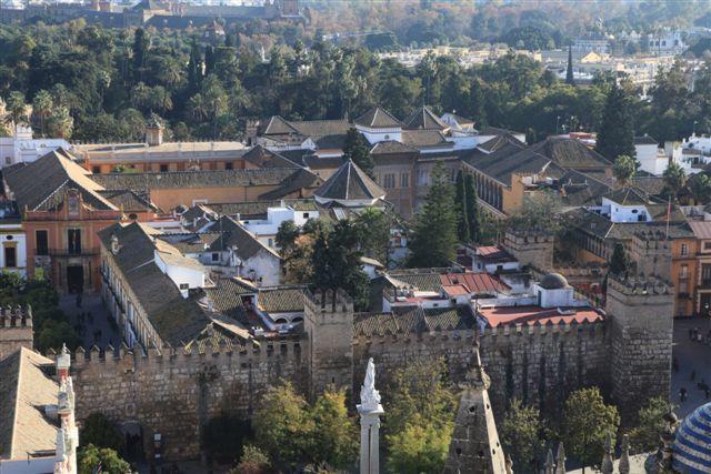 L'Alcazar de Séville vu depuis la Giralda