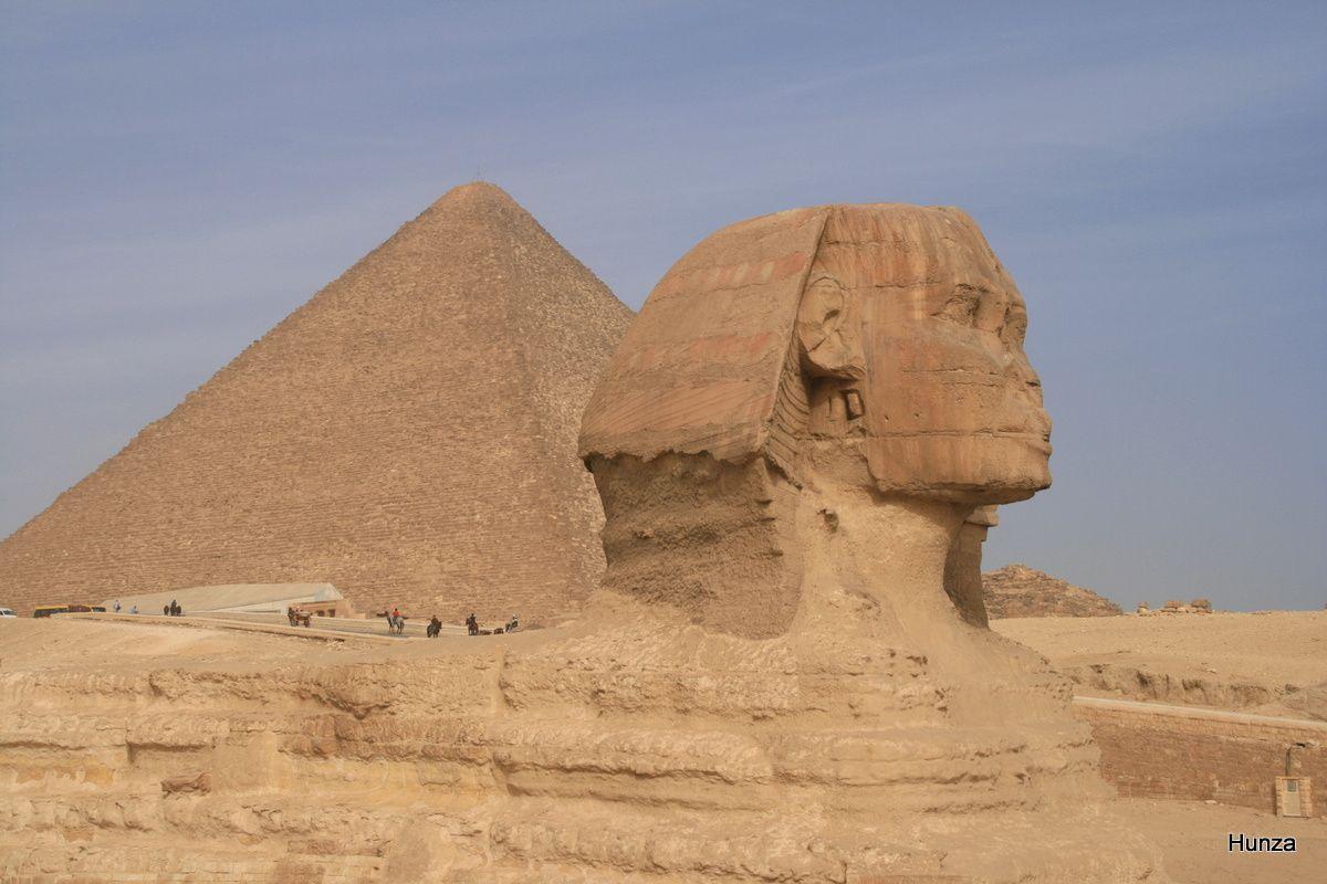 Gros plan sur la tête du Sphinx avec, derrière, la pyramide de Khéops