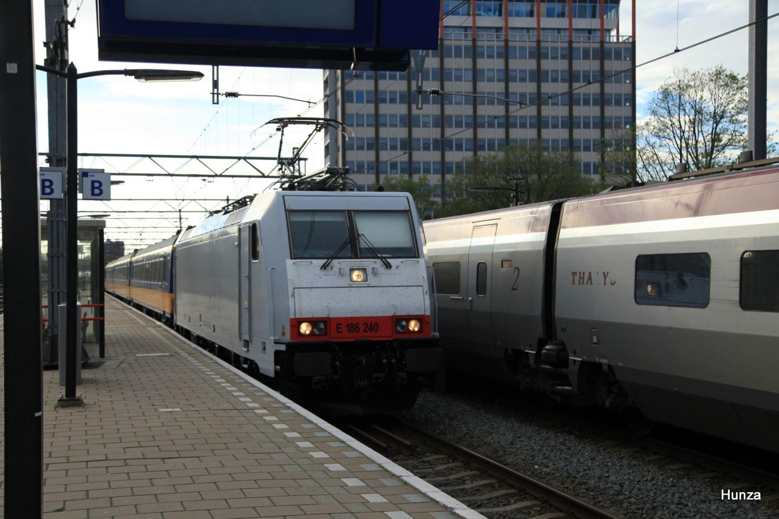 Amsterdam centraal : arrivée du train avec la locomotive E 186 240 (11 août 2017)