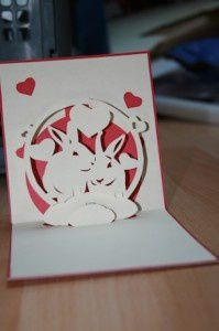 Kirigami lapins et coeur