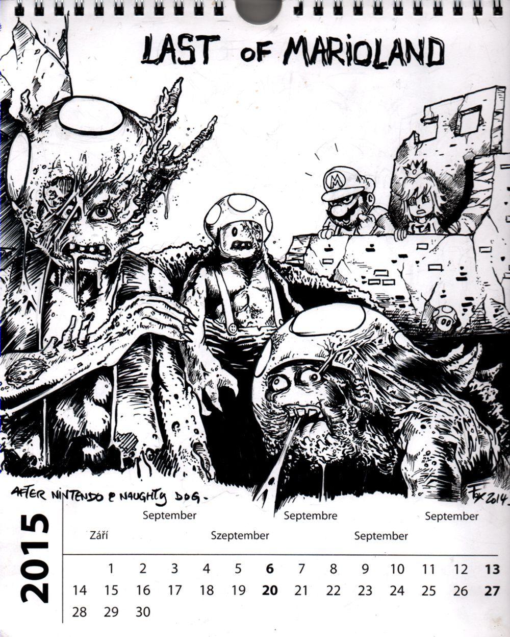 calendrier septembre (mario-last of us) encré