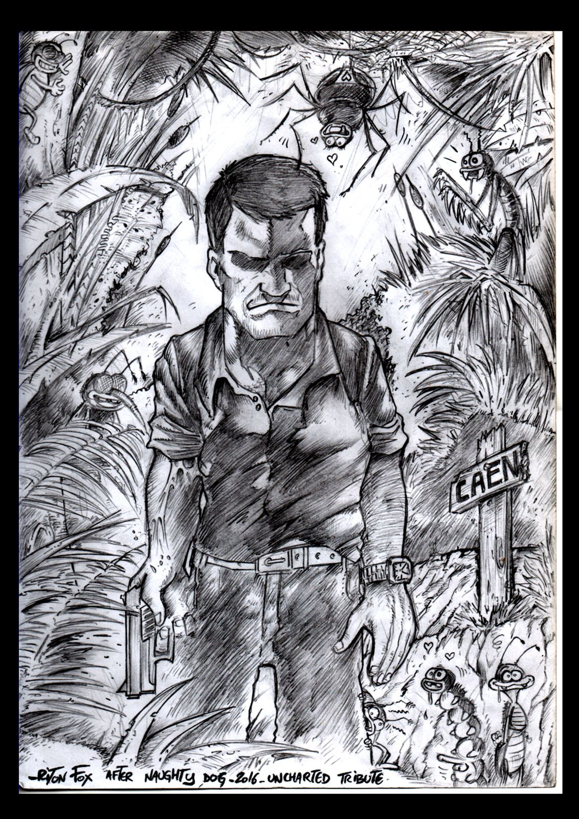 uncharted (hommage avec insectes)