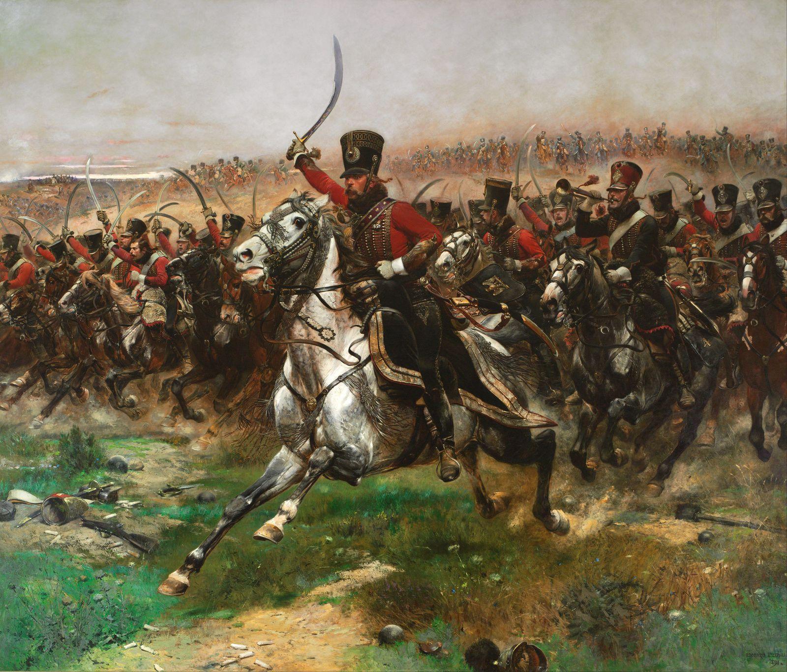 ( I ) Tableau d'Edouard Detaille: la bataille de Waterloo.( II ) Buste de Beethoven, par Bourdelle. ( III ) Esquisse de Victor Hugo.