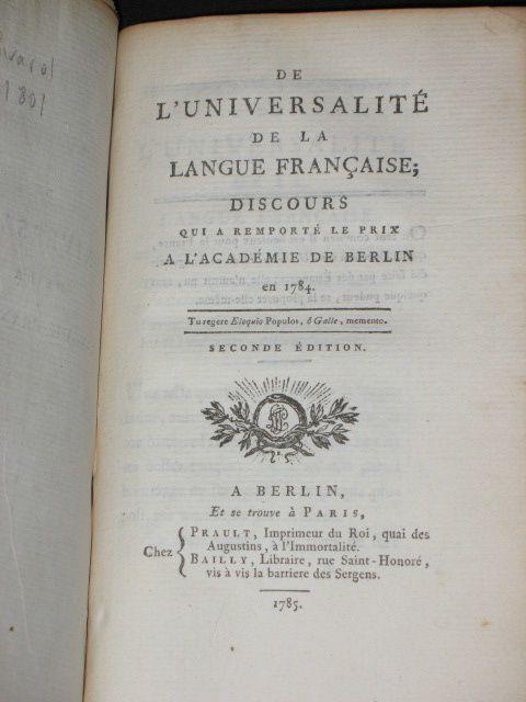 La troisième image est celle du Chevalier de Parcieux, et Comte de Rivarol, auteur, notamment d'un Discours sur l'universalité de la langue française.
