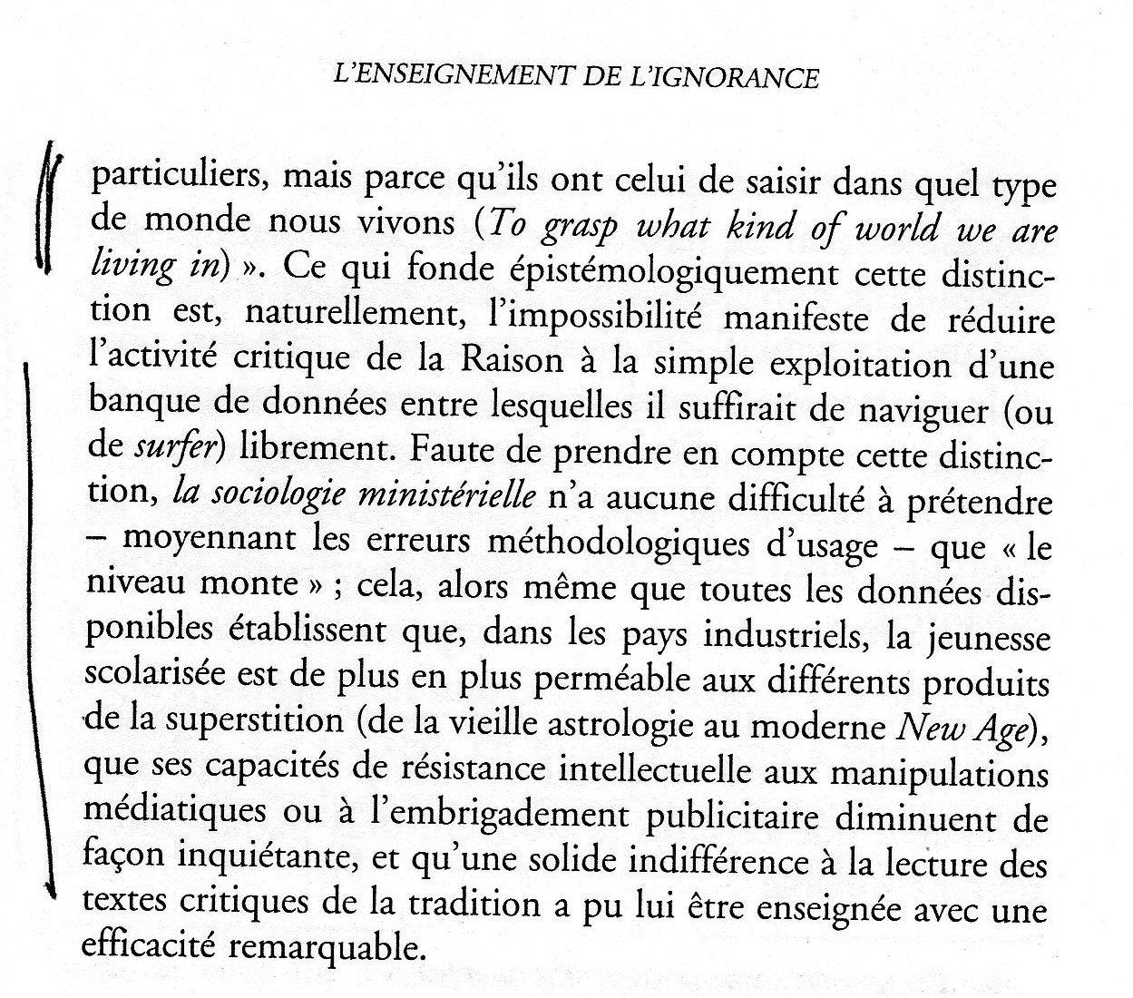 L'enseignement de l'ignorance, par Jean-Claude Michéa.