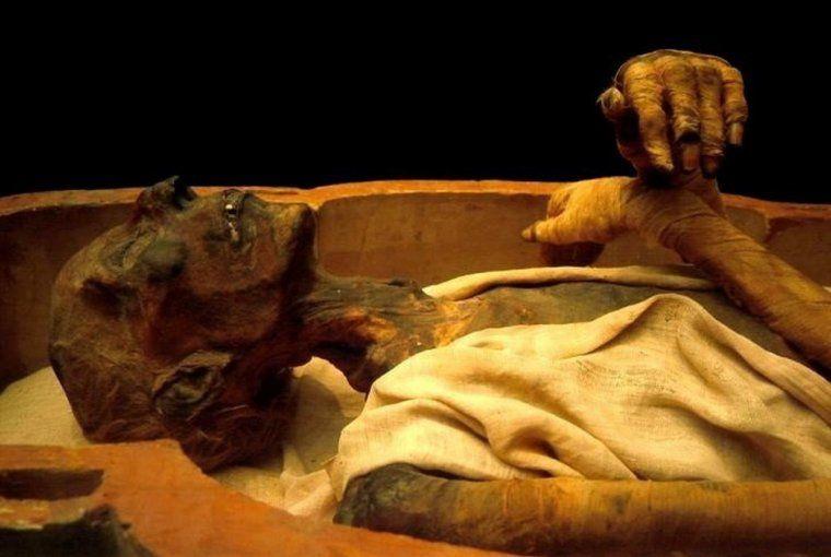 ( 3 ) Momie de Ramsès II. ( 4 )  Tête de Ramsès II momifiée, photographiée.