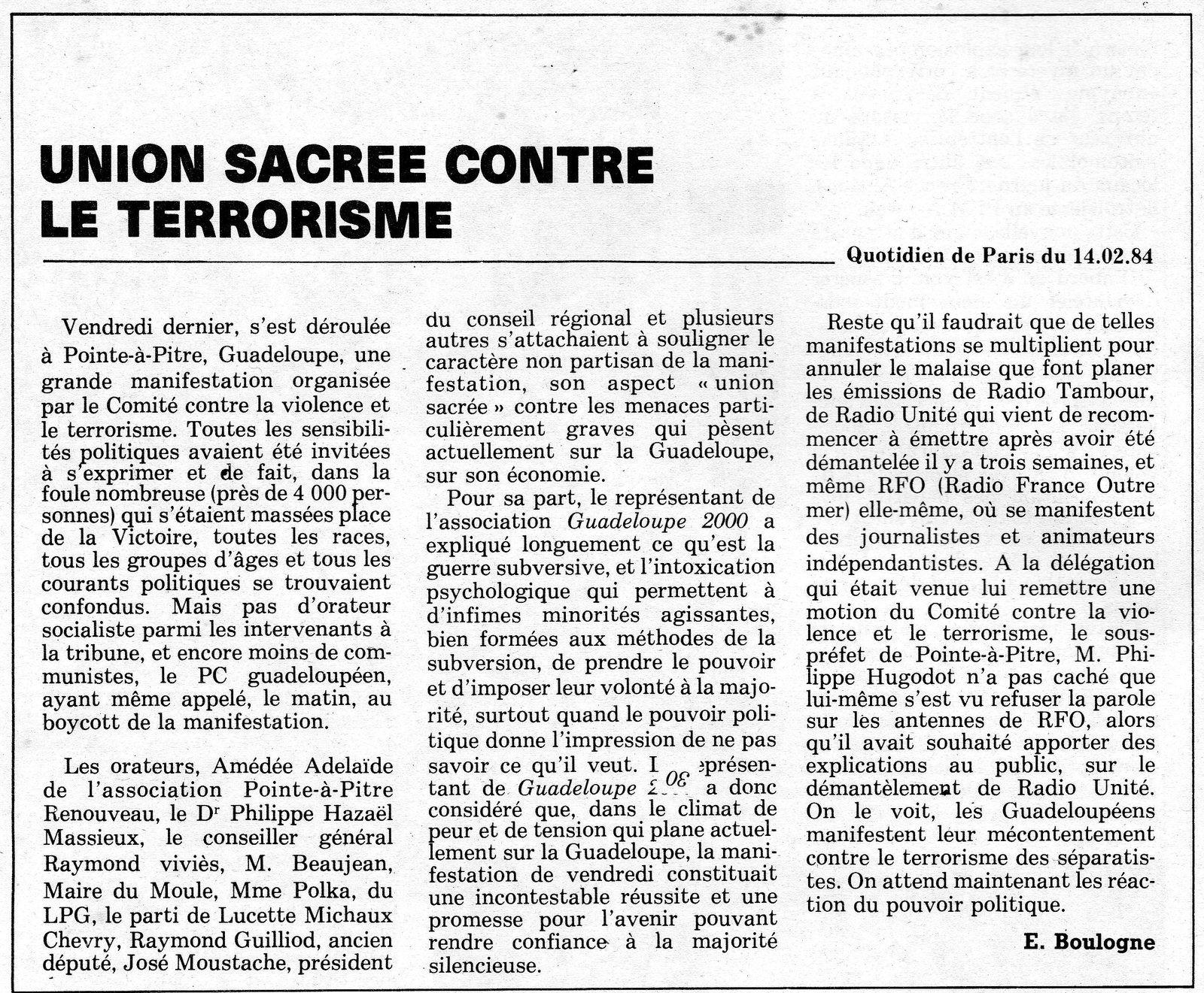 Piqure de rappel : Le terrorisme en Guadeloupe en 1984-85. ( Texte et video ).