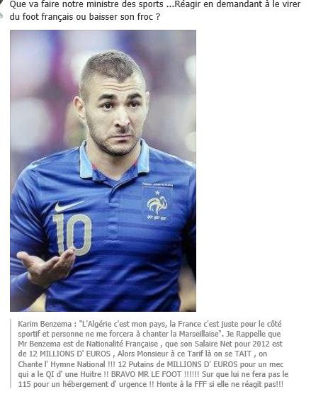 Quand le footballeur Karim Benzema crache pendant la Marseillaise.