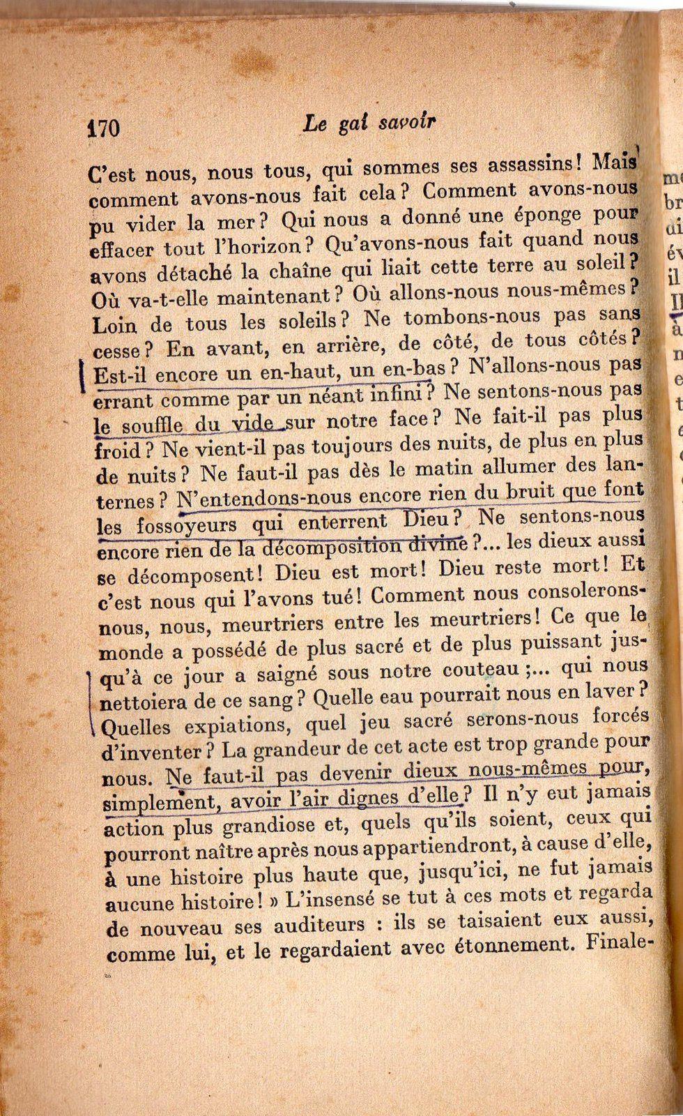 3 ) Une page de Nietzsche sur La mort de Dieu. 4 ) Ceux qui ont gardé la lumière ( le soleil ). 5 ) Le transhumanisme. 6 ) Image non dépourvue de signification. .