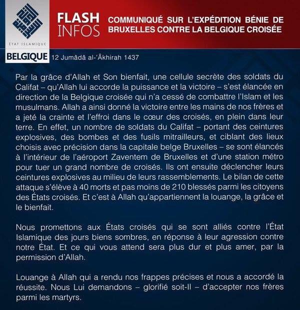 Terrorisme islamiste : Après Paris...Bruxelles! Et maintenant ...Qui ?