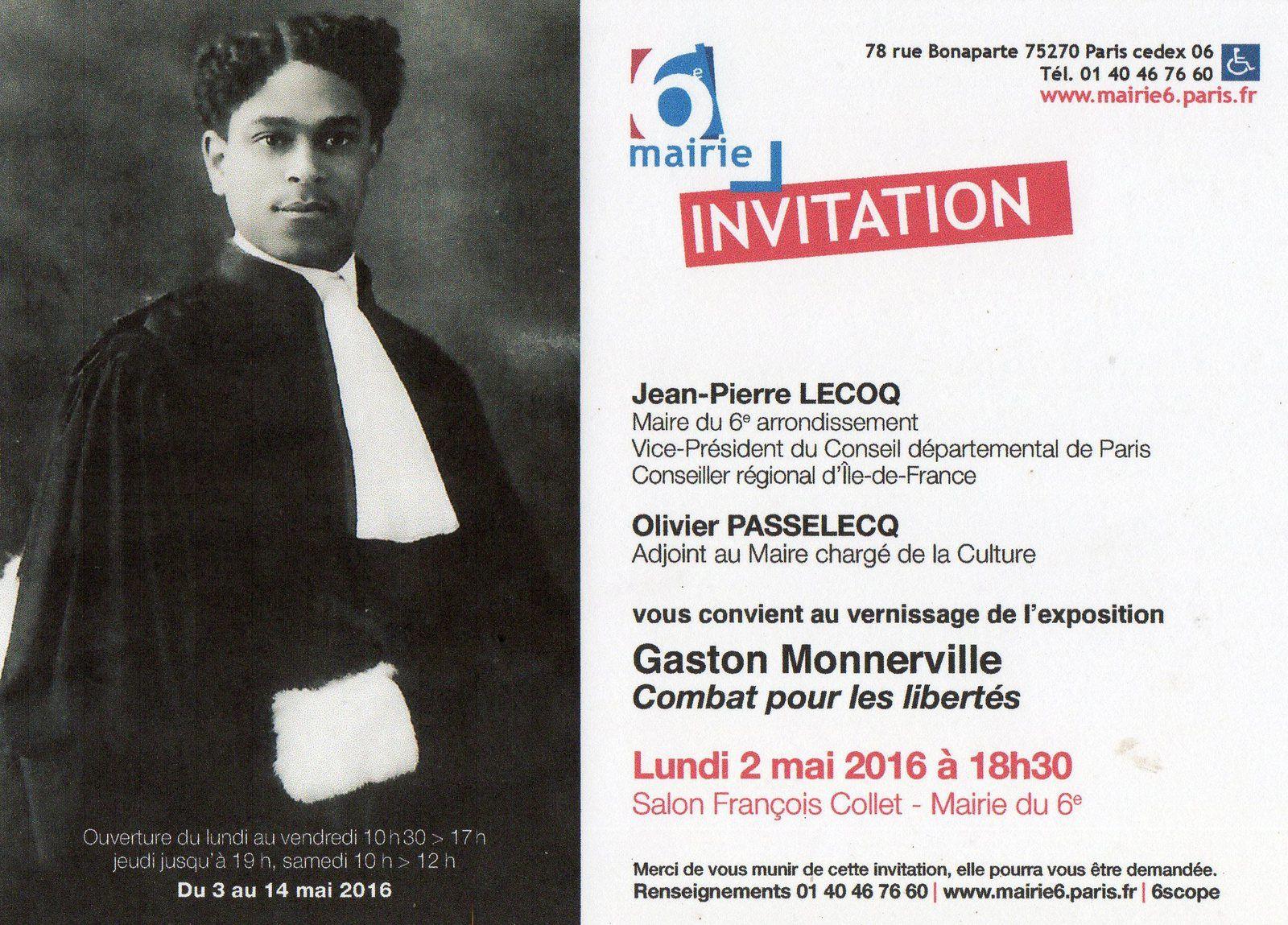Paris : Une Expo consacrée à l'éminent Gaston Monnerville ( du 03 au 14 mai 2016 )!
