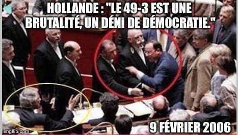 """1 ) Au premier plan, hystérique, comme d'habitude, Valls s'égosille sous le regard de """"notre"""" beau Sapin, perdu dans des images fantasmatiques de p'tits culs et de ficelles de tites culottes. 3 ) Vote vallsique."""