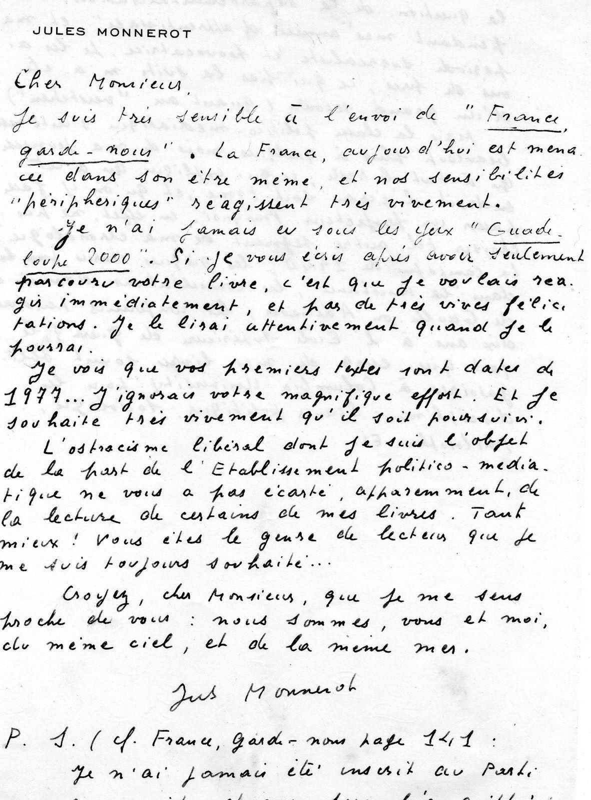 Qui fut le sociologue ( martiniquais ) Jules Monnerot ? ( en réponse à une lectrice ).