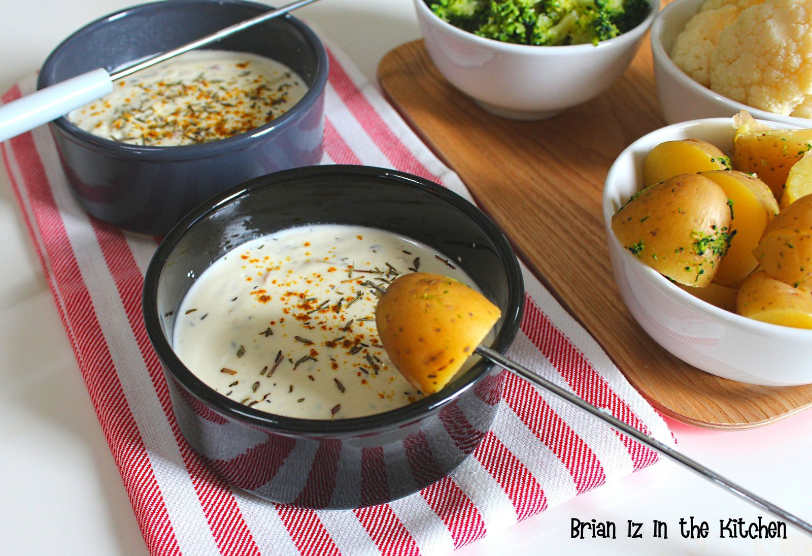 Fondue Chèvre, Miel, Curry et Thym