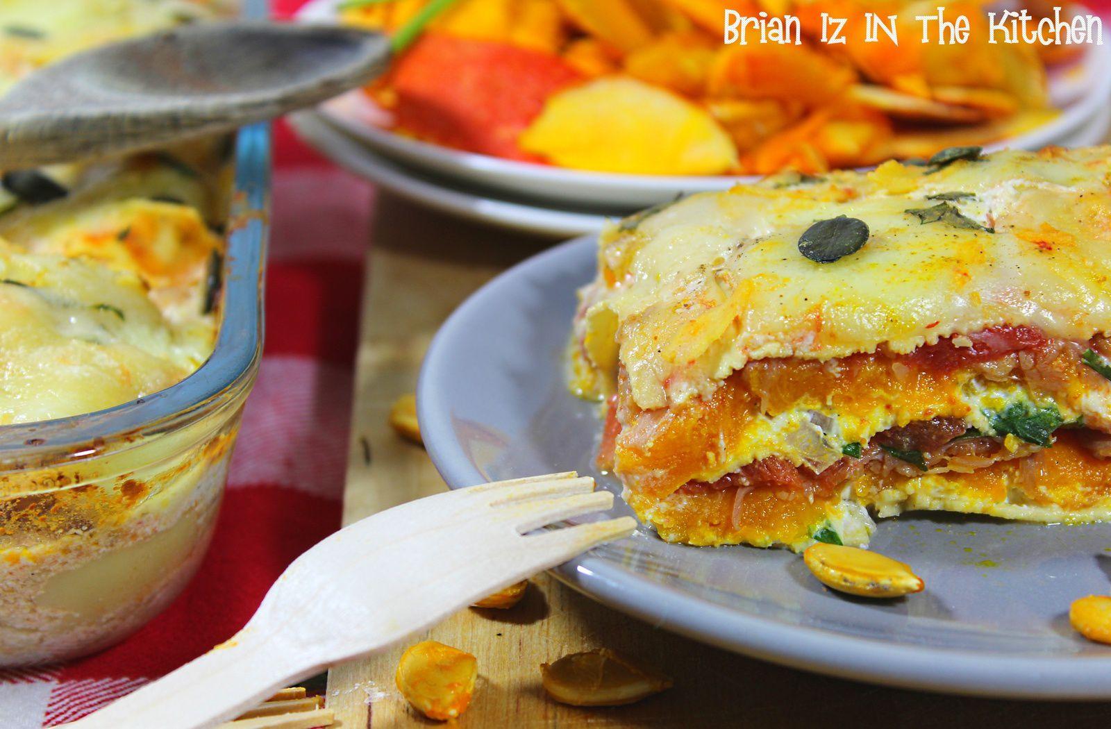 Lasagnes d'Automne: Potiron, Jambon Cru &amp&#x3B; Trois fromages