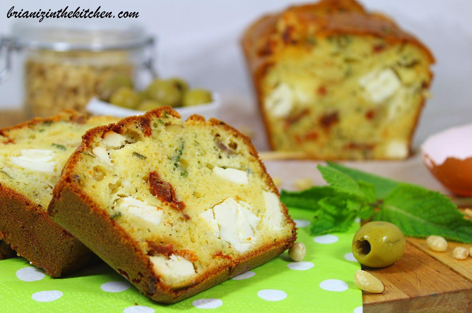 Cake Salé Feta, Olives, Tomates Séchées, Menthe &amp&#x3B; Pignons de Pin