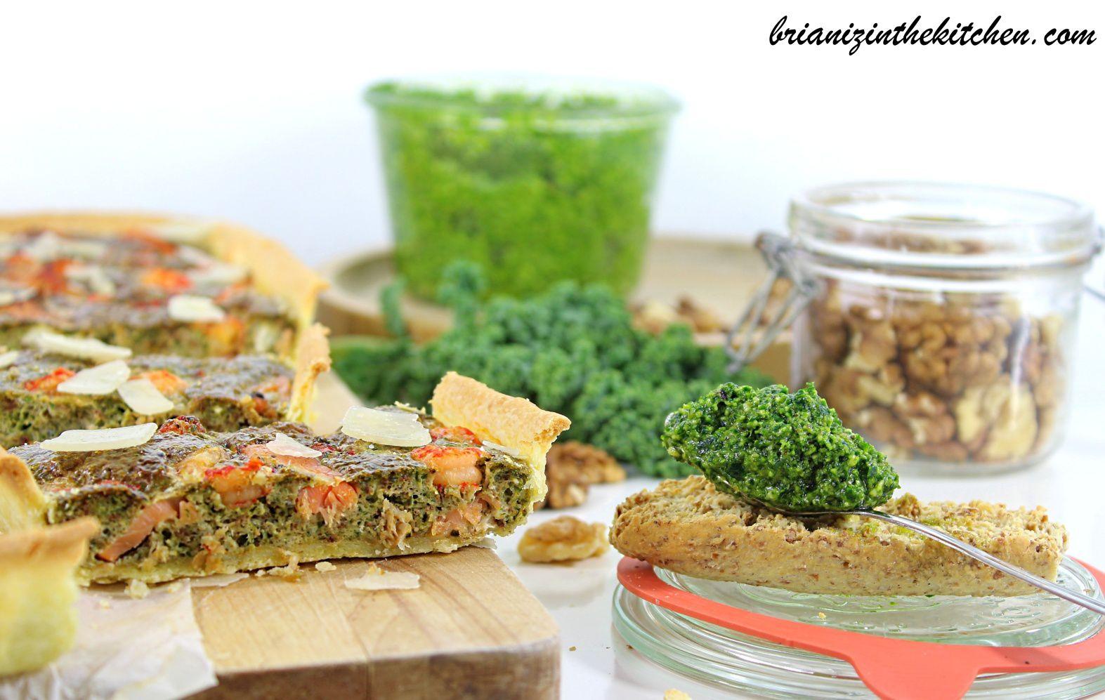 Tarte au Pesto de Chou Kale, Saumon Fumé &amp&#x3B; Ecrevisses