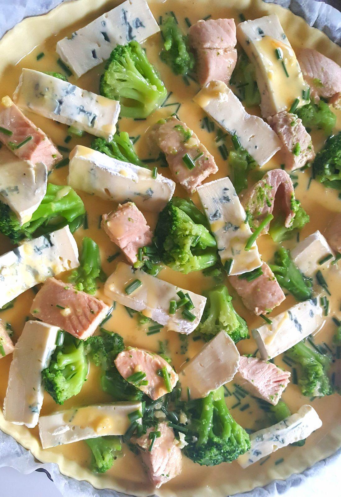 Tarte au Saumon, Brocoli et Bleu