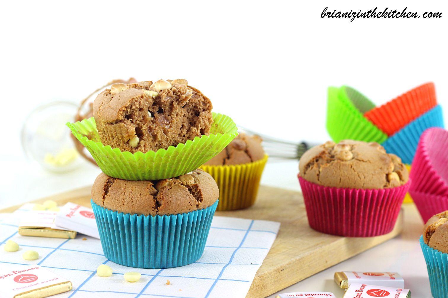Muffins au Chocolat au Lait &amp&#x3B; Pépites de Chocolat Blanc - La Mère Poulard