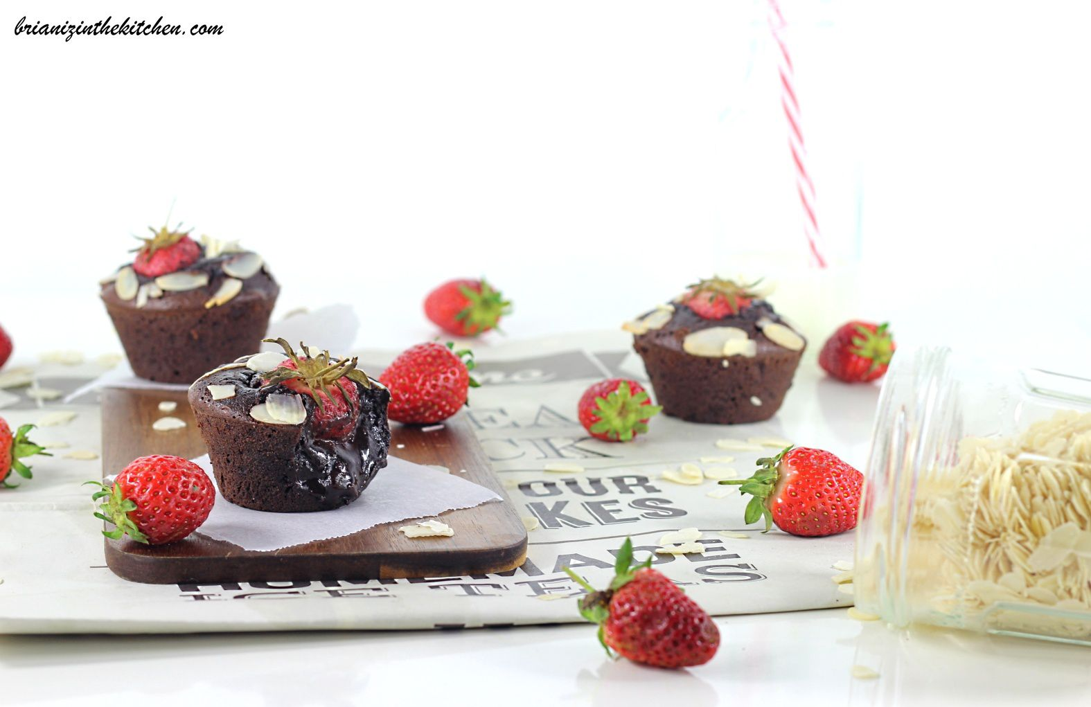 brownies individuels choco-fraise - brian iz in the kitchen