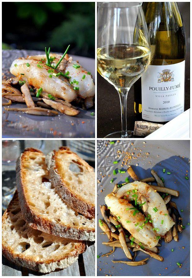 Lotte aux champignons de Paris, gingembre et sauce d'huître