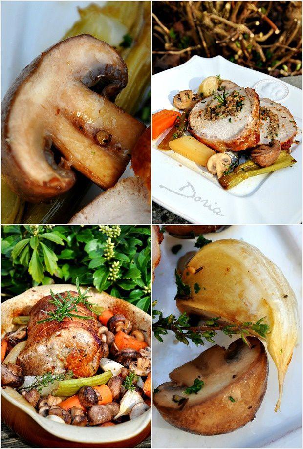 Rôti de porc farci aux champignons