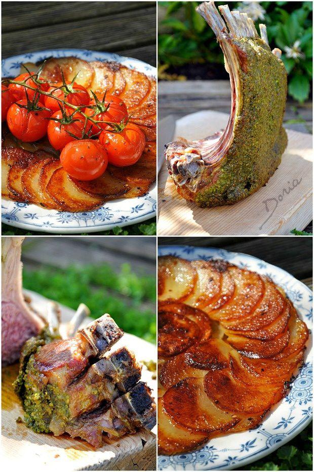 Carré d'agneau en croûte de pesto d'épinards et de pistaches
