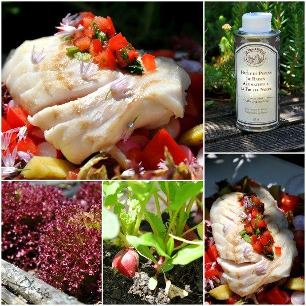 Cabilaud poêlé et salade du jardin