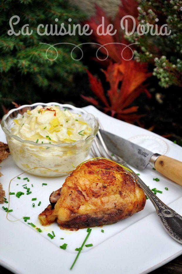 Cuisses de poulet rôties au curcuma et safran, fondue de poireaux au Riesling