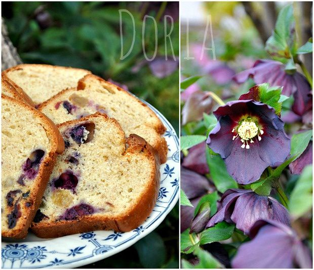 Cake aux cranberries, raisons blonds et myrtilles
