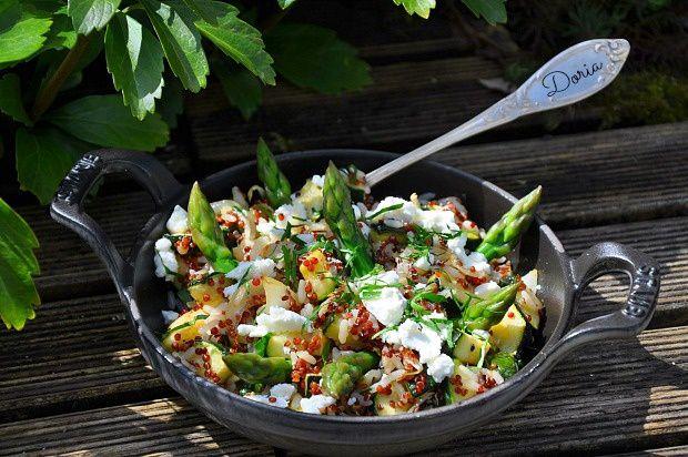 Salade d'asperges fêta au melange riz et quinoa