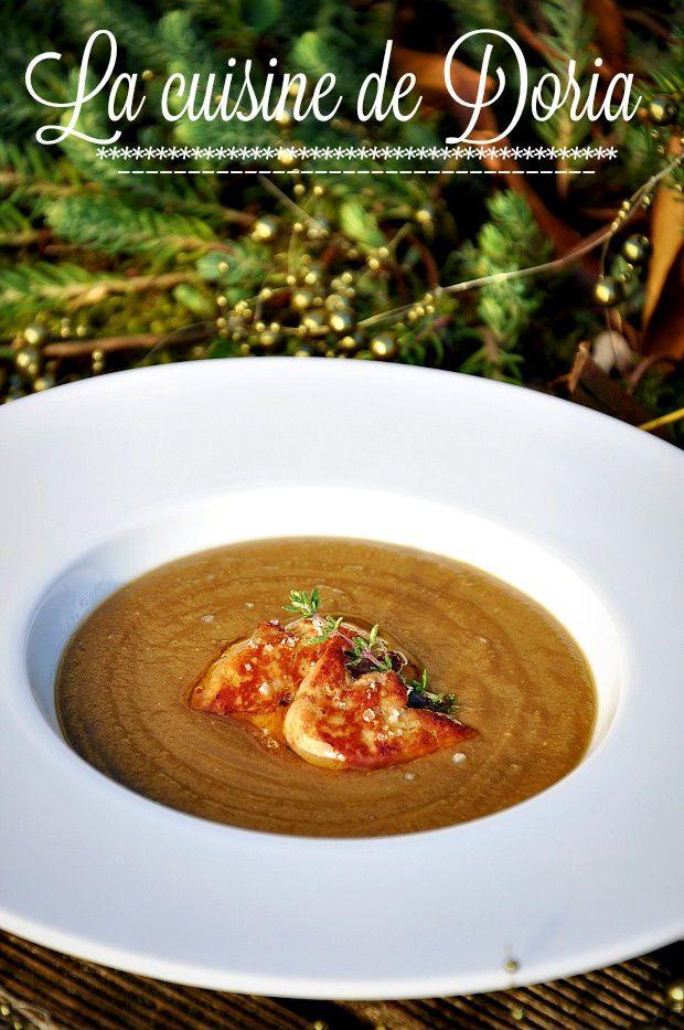Soupe de lentilles et tranches de foie gras poêlées