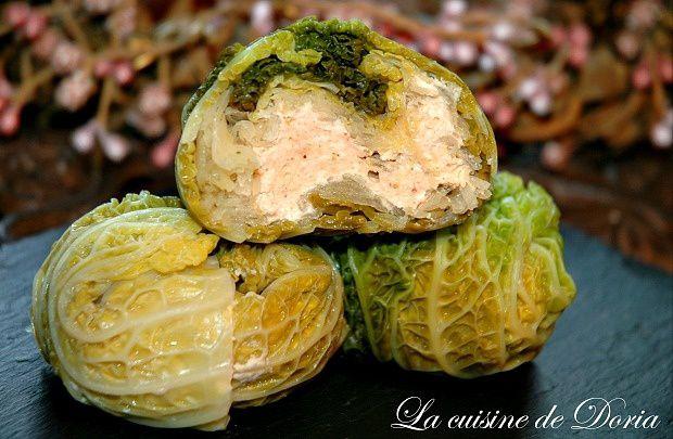 Chaussons de choux, poulet et foie gras