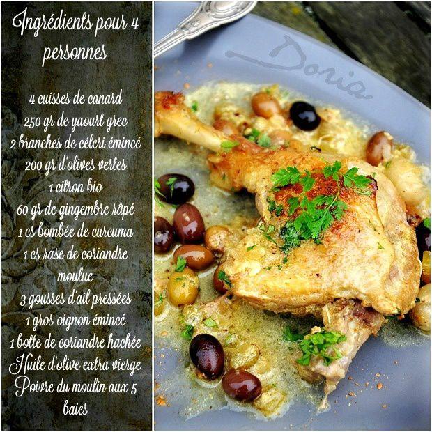 Canard aux olives, citron, épices et yaourt grec