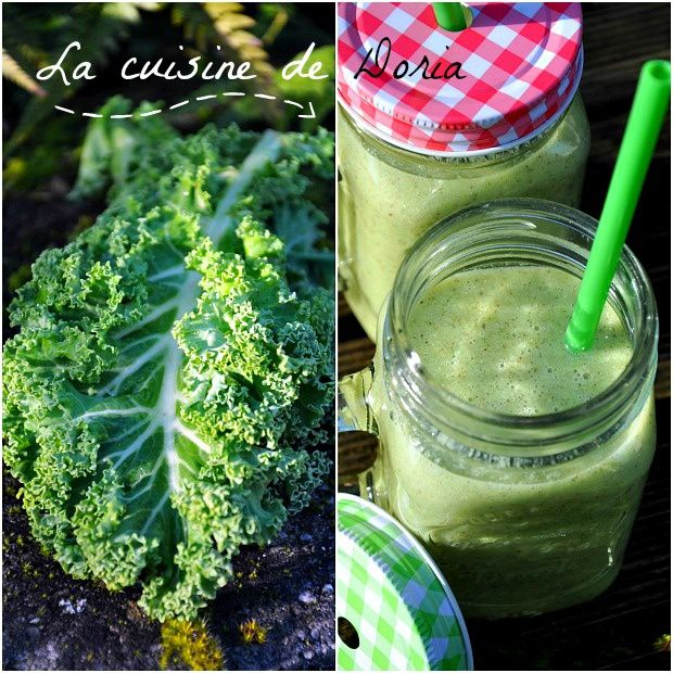 Smoothie vitaminé au chou Kale, banane, kiwis, graines de Chia
