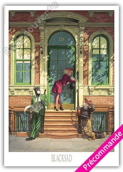 Nouvelle affiche Blacksad Le porche de Juanjo Guarnido. Elle arrive bientôt et vous pouvez l'acheter dès maintenant en boutique ! 