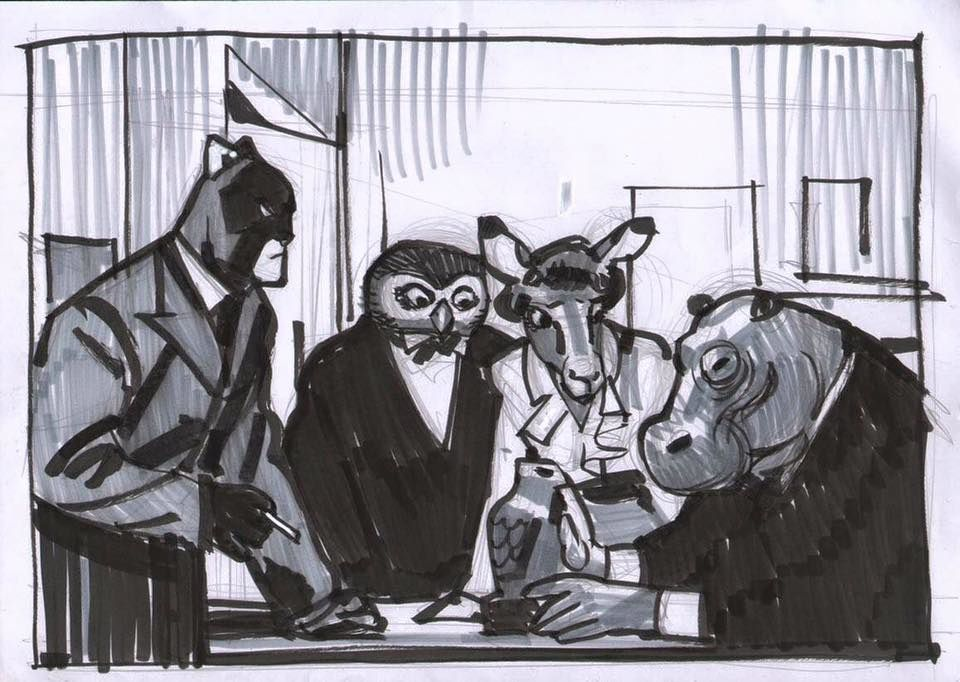 Gabriel Hernández Walta @ Sketch for a Blacksad commission I'm making (Blacksad by Juan Díaz Canales & Juanjo Guarnido)