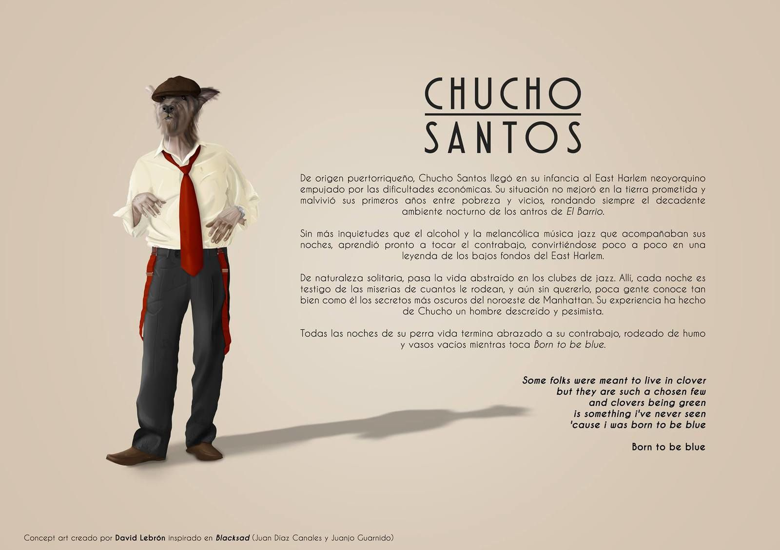 A character created by me, inspired in Blacksad world. A puerto-rican double bass player called Chucho Santos. Hope you like it !