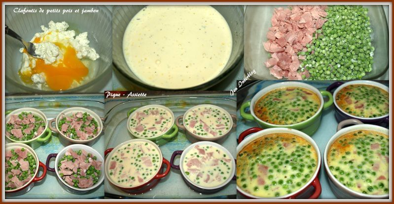 Clafoutis petits pois / jambon / boursin individuels.