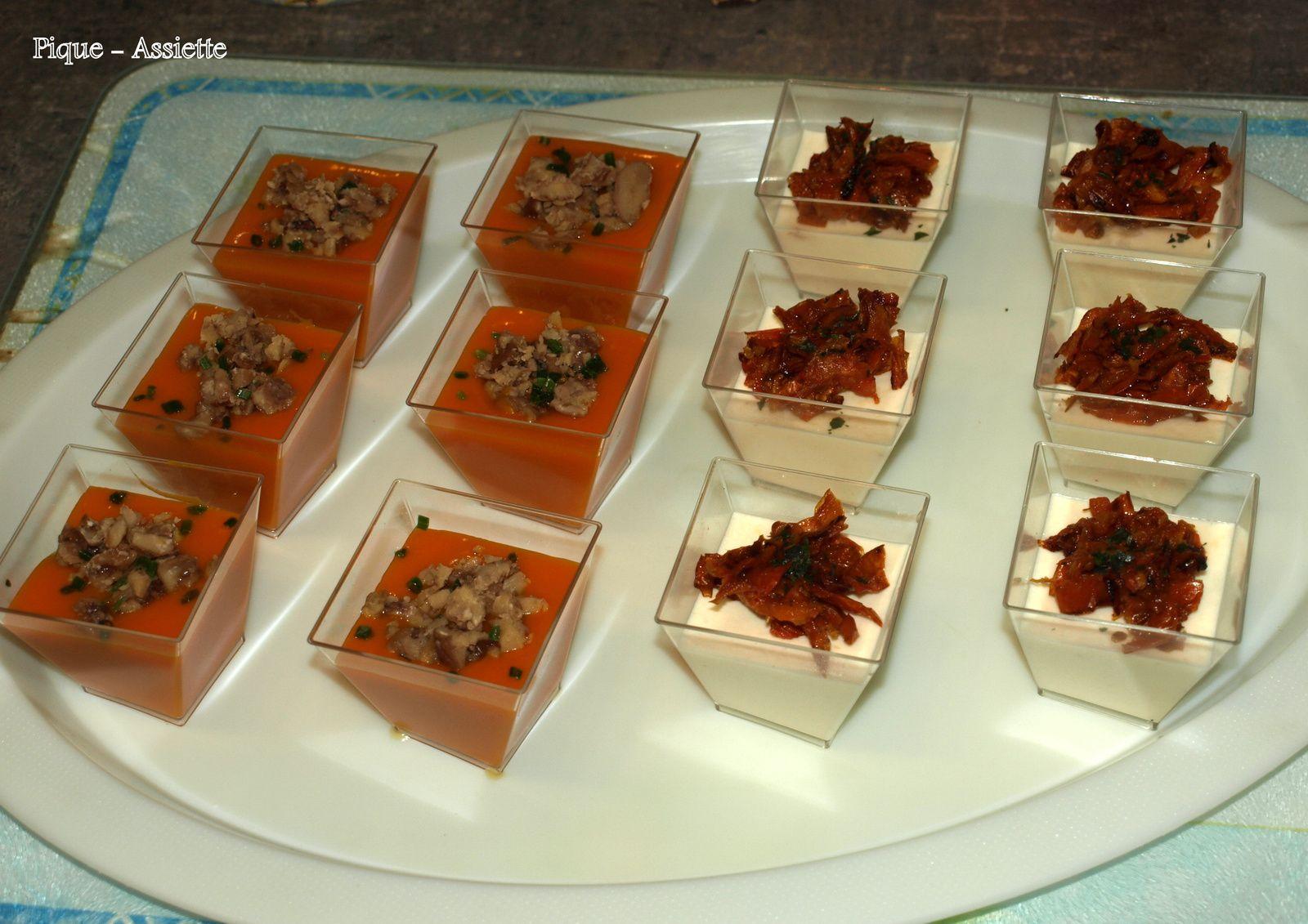 Panna cotta d'asperges aux tomates confites.