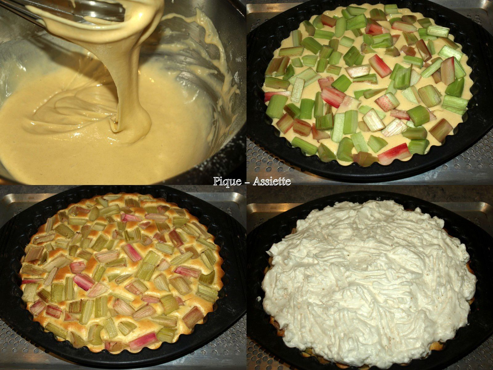 Gâteau à la rhubarbe meringué.
