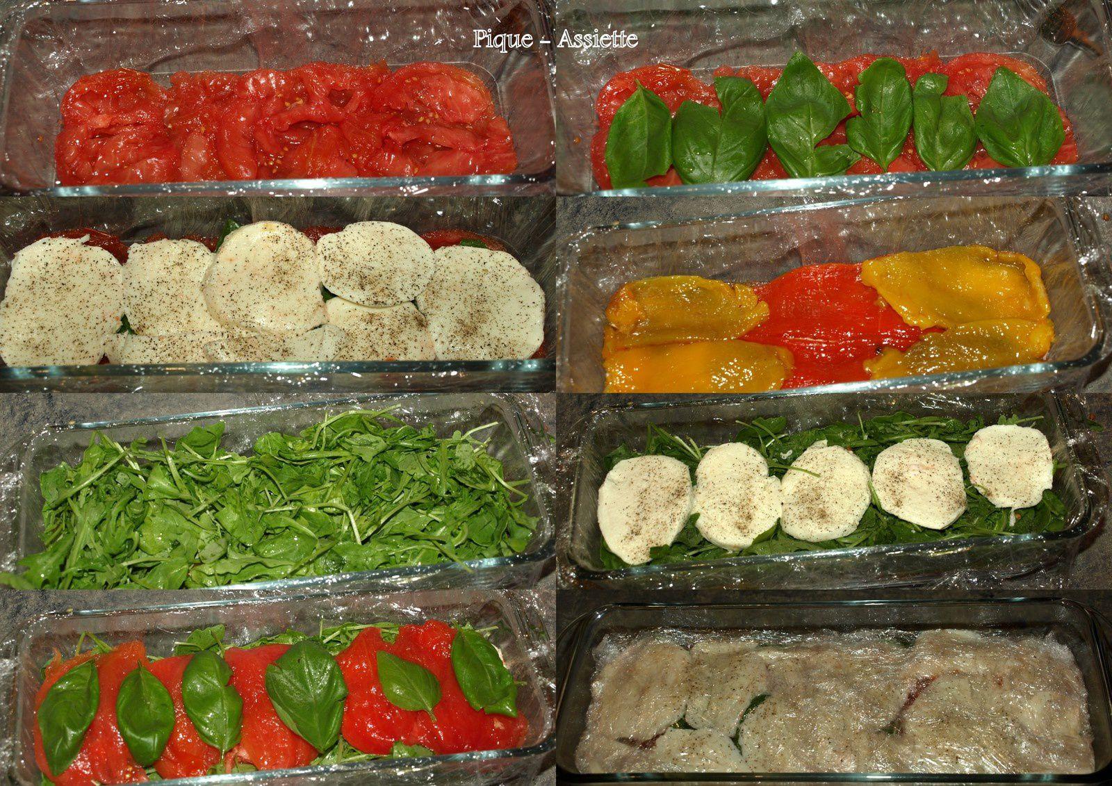 Terrine de pressée de tomates, poivrons, roquette et mozzarella (Recette sans cuisson)
