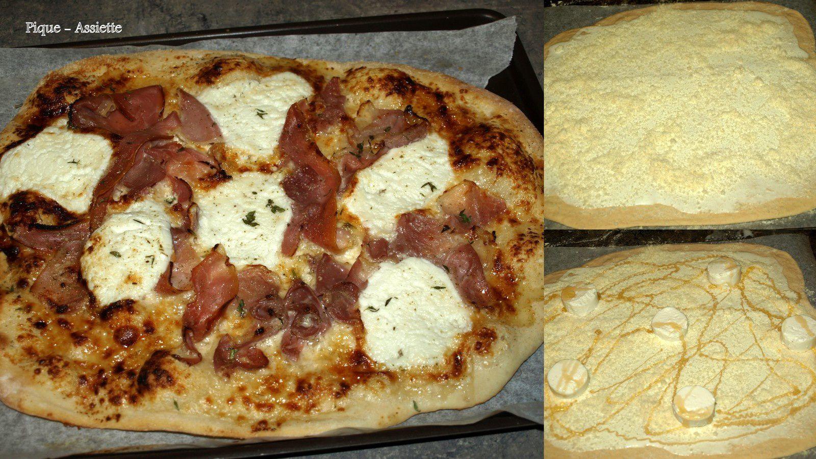 Pizza jambon, chèvre et miel.