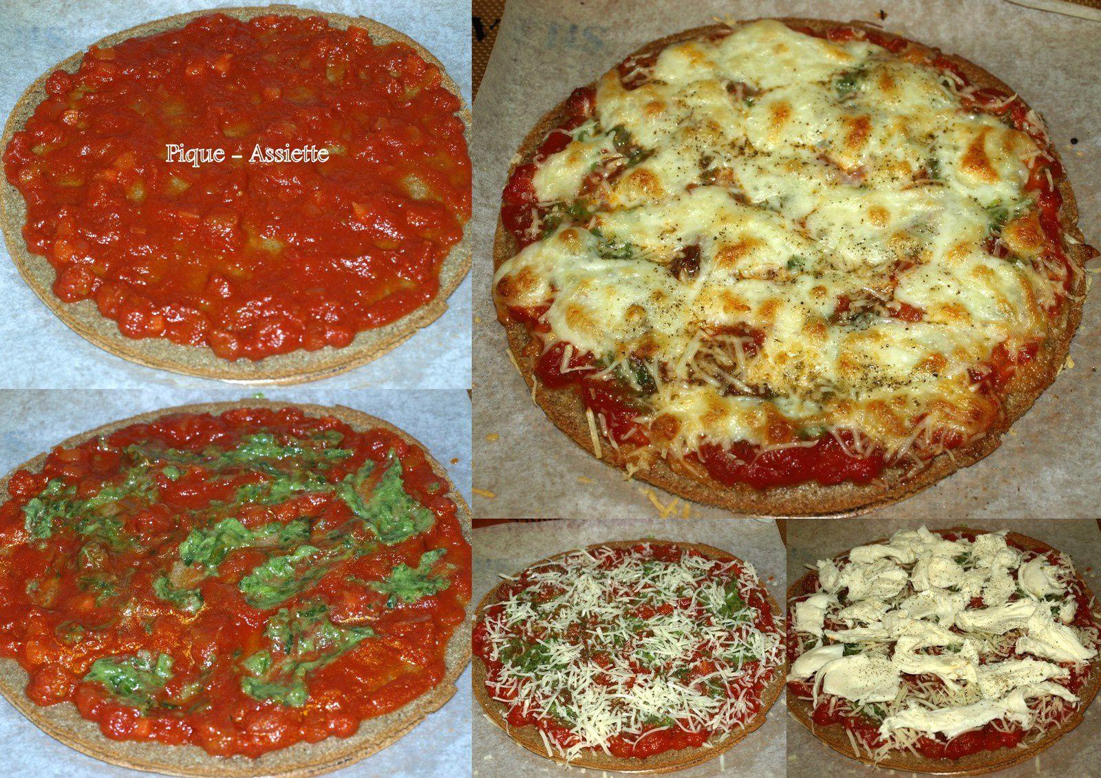 Pizza aux 2 fromages, sauce verde et quinoa.
