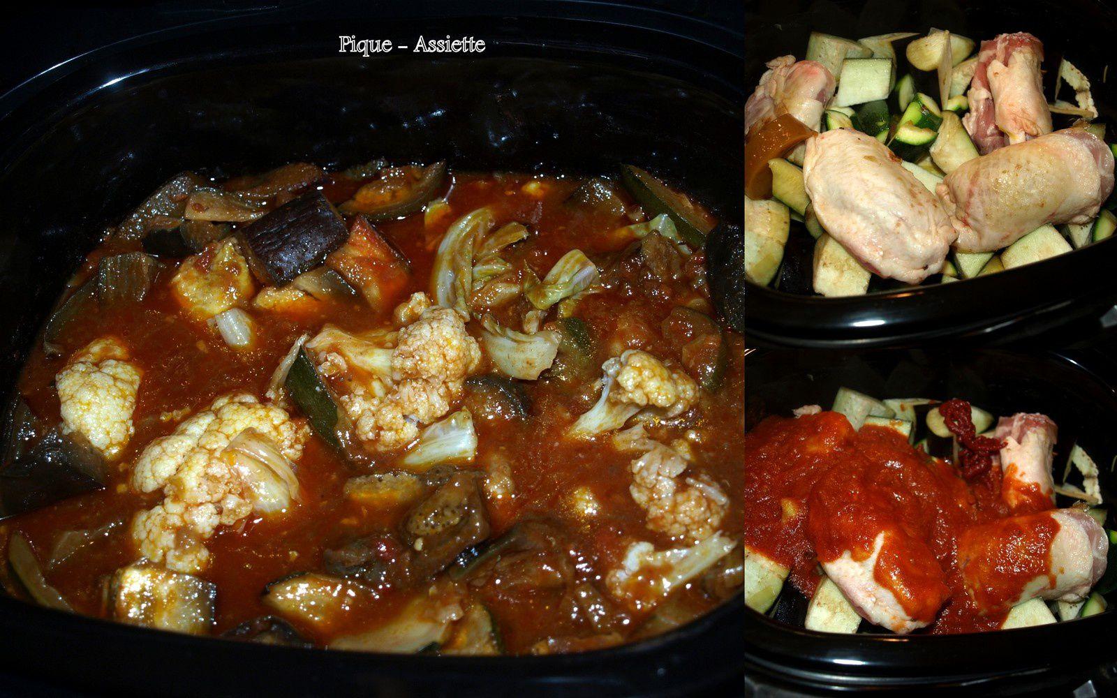 Tajine au poulet, aubergines, courgettes et chou-fleur (Recette en mijoteuse ou pas ...)