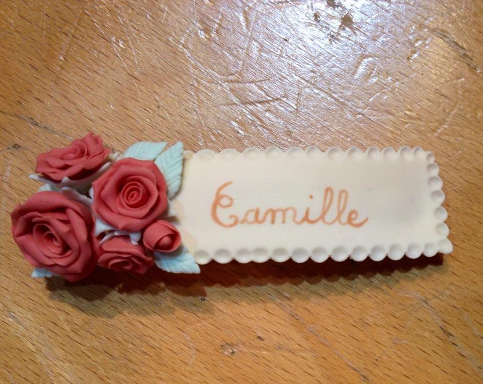 barrette romantique, roses modelées à la main, mélange de couleurs