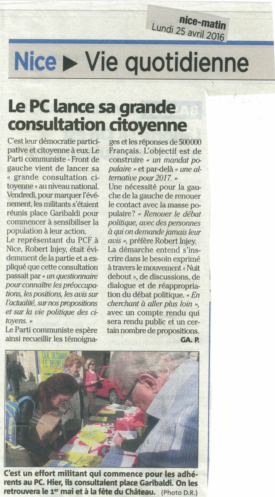 Lancement de la consultation citoyenne (Nice-Matin)