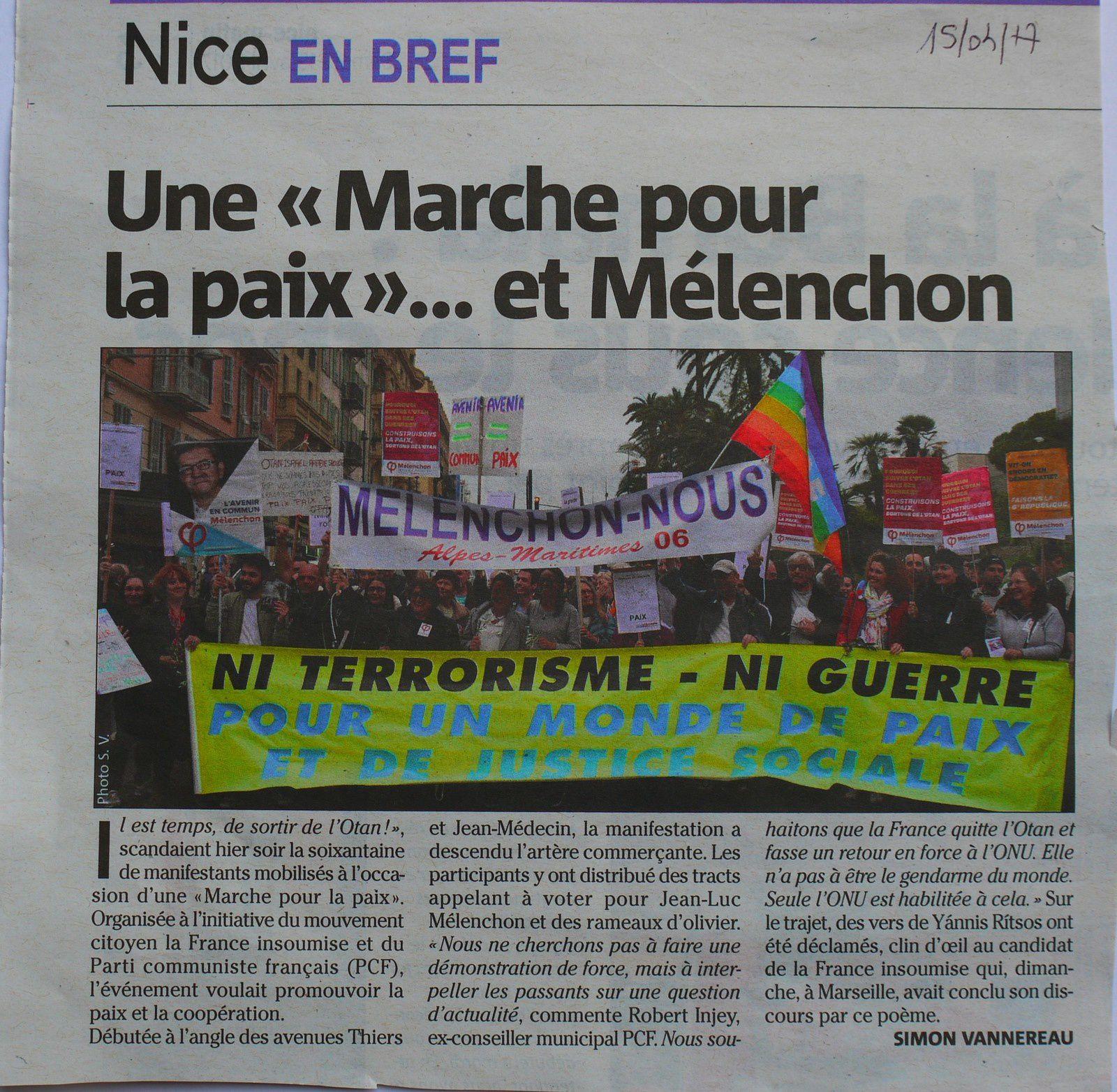Une marche pour la paix et...Mélenchon (Nice-Matin)