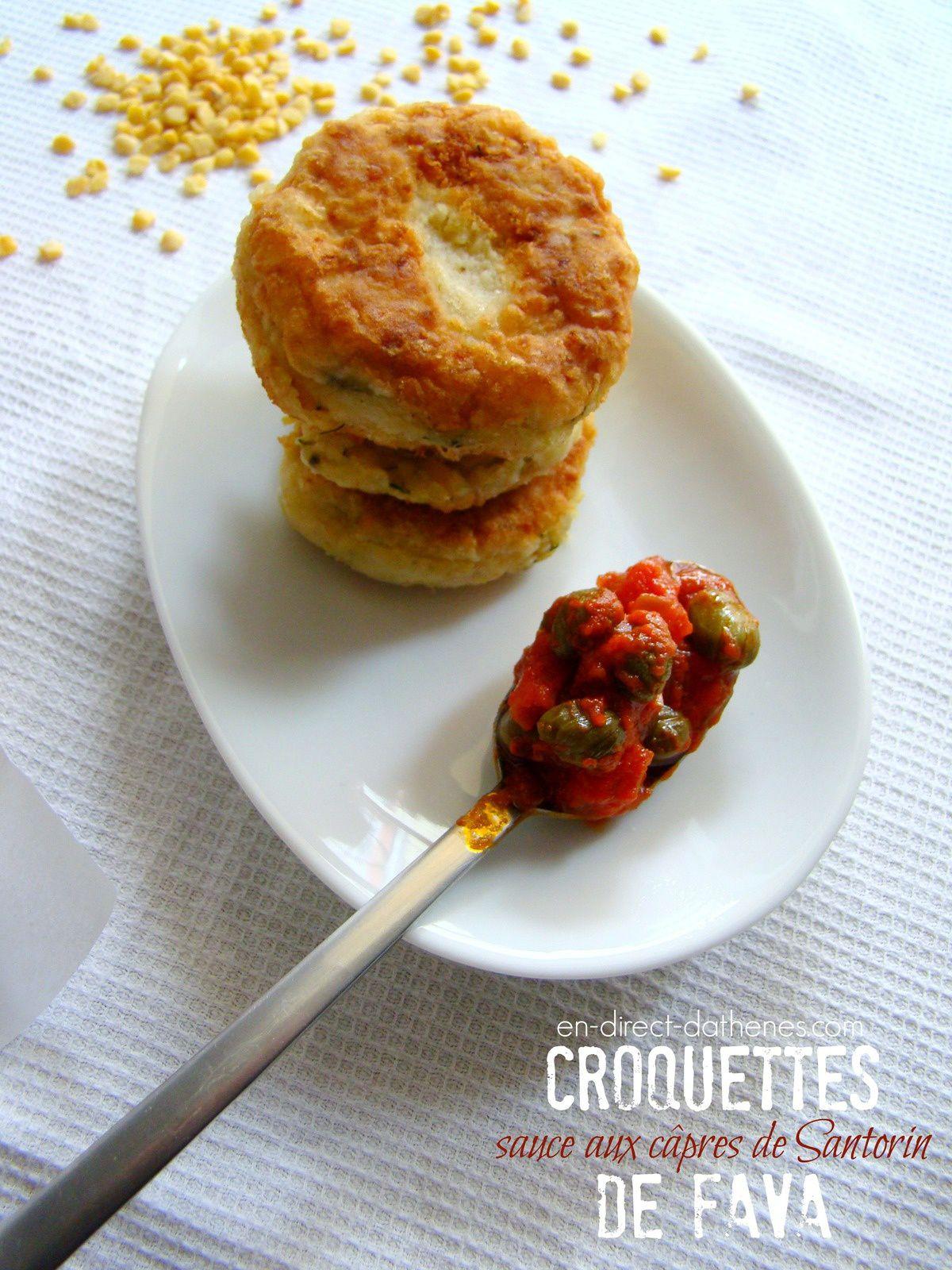 Croquettes de fava et leur sauce aux câpres de Santorin