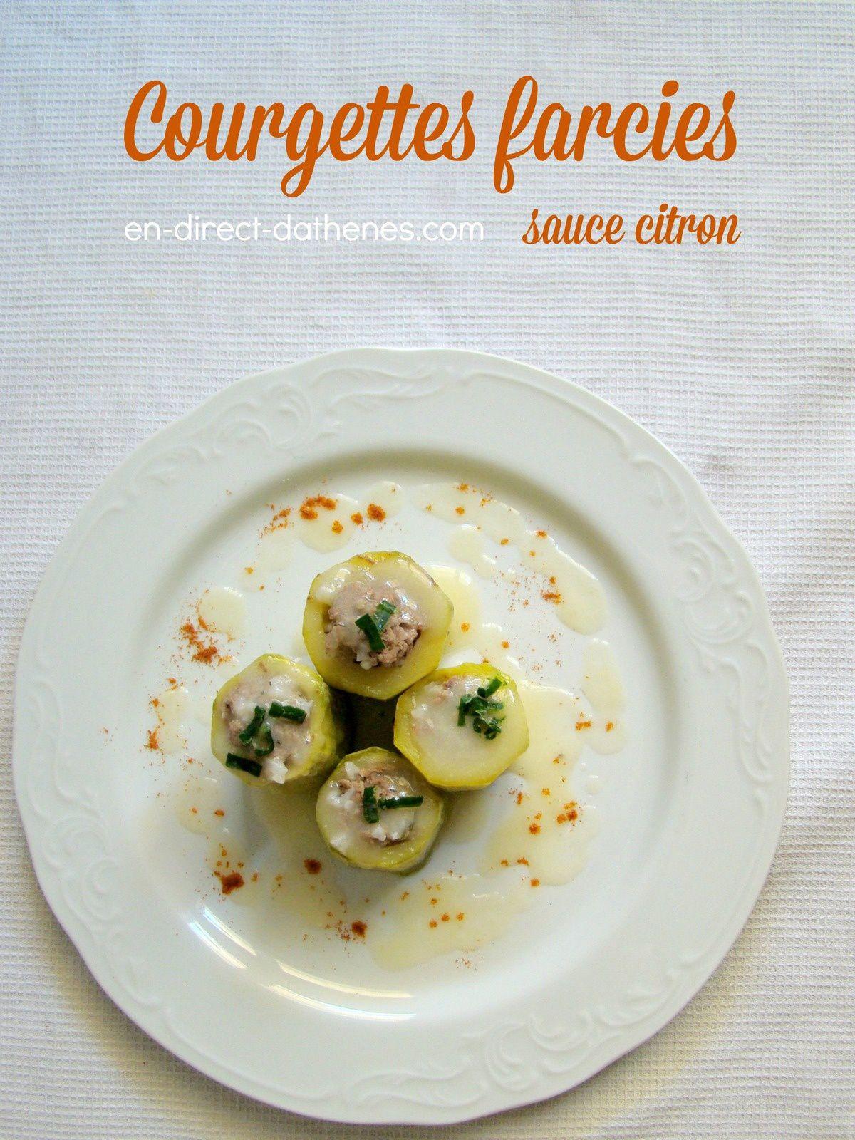 Courgettes farcies à la grecque en sauce avgolemono au citron